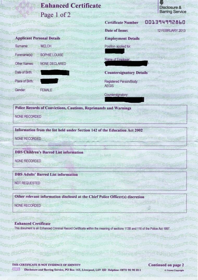 uk dbs certificate