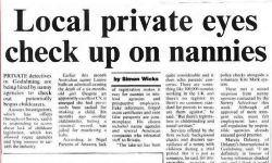 Surrey Advertiser checking nannies private Investigator